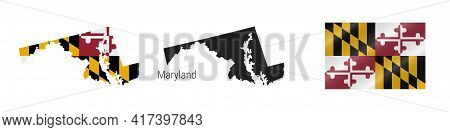 Maryland Us State Map With Masked Flag. Detailed Silhouette. Waving Flag. Vector Illustration Isolat
