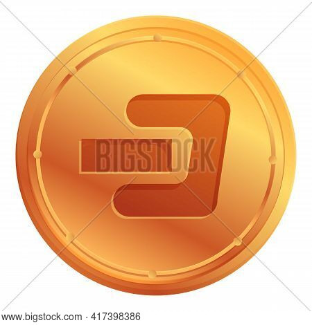 Dash Cryptocurrency Icon. Cartoon Of Dash Cryptocurrency Vector Icon For Web Design Isolated On Whit