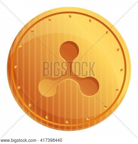Ripple Coin Cryptocurrency Icon. Cartoon Of Ripple Coin Cryptocurrency Vector Icon For Web Design Is