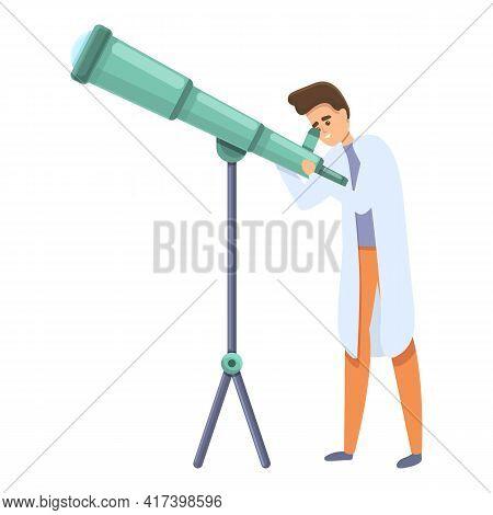 Telescope Research Scientist Icon. Cartoon Of Telescope Research Scientist Vector Icon For Web Desig