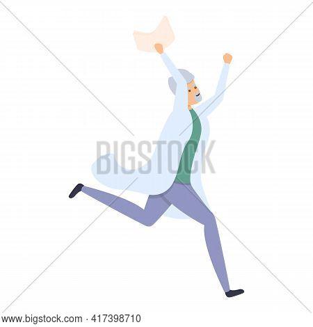 Happy Running Scientist Icon. Cartoon Of Happy Running Scientist Vector Icon For Web Design Isolated