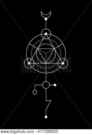 Sacred Geometry Abstract Mystic Signs. Merkaba Thin Line Geometric Triangle Shape, Esoteric Or Spiri