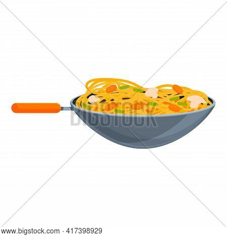 Wok Pan Icon. Cartoon Of Wok Pan Vector Icon For Web Design Isolated On White Background