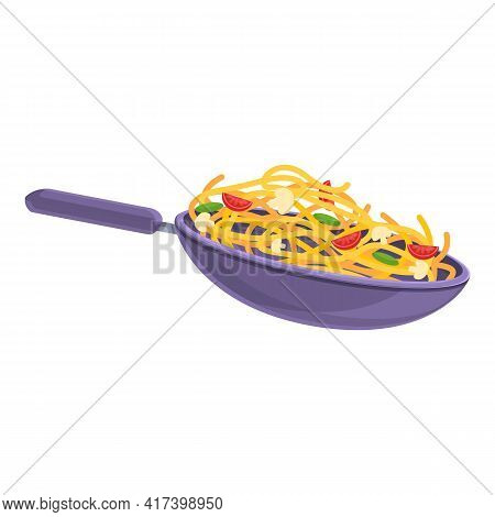 Wok Food Icon. Cartoon Of Wok Food Vector Icon For Web Design Isolated On White Background