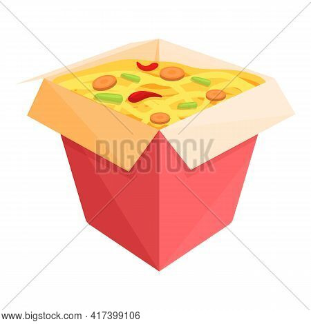 Wok Food Delivery Box Icon. Cartoon Of Wok Food Delivery Box Vector Icon For Web Design Isolated On