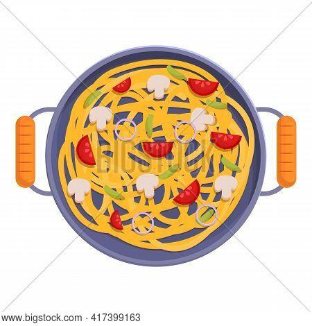 Wok Food Mushroom Icon. Cartoon Of Wok Food Mushroom Vector Icon For Web Design Isolated On White Ba