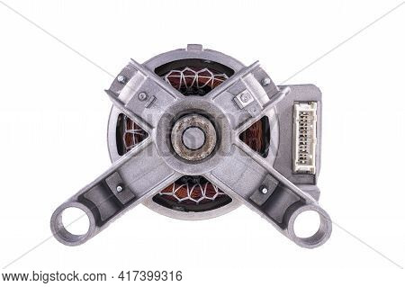 The Electric Motor From The Washing Machine. Spare Parts Used To Repair Home Appliances.
