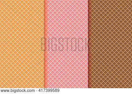 Ice Cream Waffle Cone Textures Set. Seamless Patterns With Different Wafer Backgrounds, Vanilla, Str