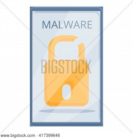 Detect Malware Phone Icon. Cartoon Of Detect Malware Phone Vector Icon For Web Design Isolated On Wh