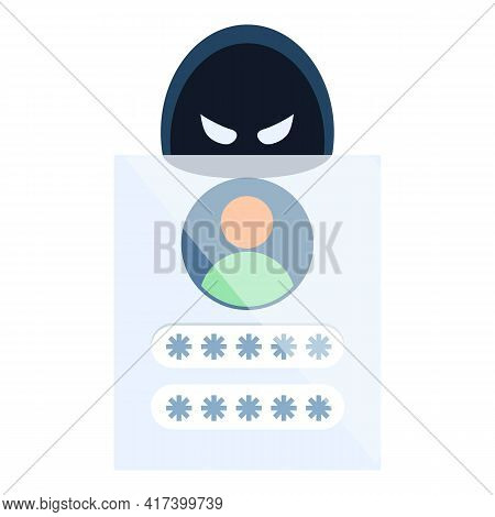 Hack Personal Data Icon. Cartoon Of Hack Personal Data Vector Icon For Web Design Isolated On White
