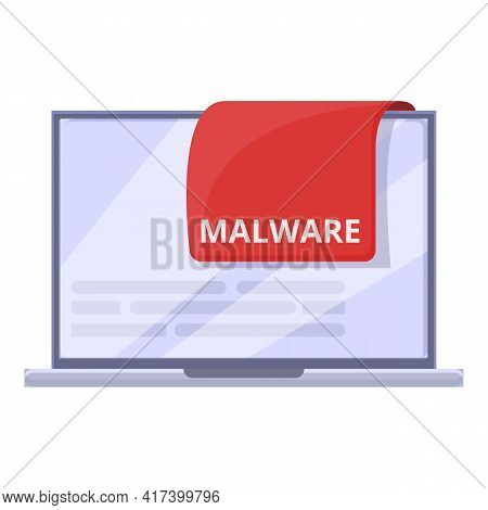 Red Laptop Malware Icon. Cartoon Of Red Laptop Malware Vector Icon For Web Design Isolated On White