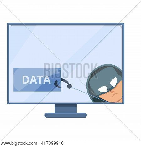 Online Phishing Data Icon. Cartoon Of Online Phishing Data Vector Icon For Web Design Isolated On Wh
