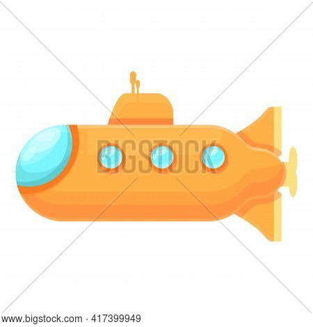 Yellow Submarine Icon. Cartoon Of Yellow Submarine Vector Icon For Web Design Isolated On White Back