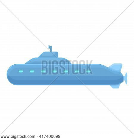 Military Submarine Icon. Cartoon Of Military Submarine Vector Icon For Web Design Isolated On White
