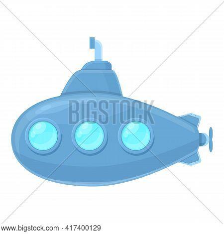 Underwater Submarine Icon. Cartoon Of Underwater Submarine Vector Icon For Web Design Isolated On Wh