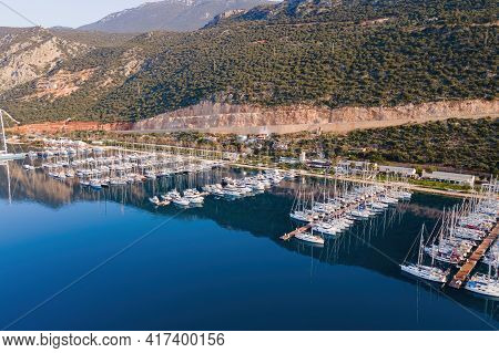 Aerial View Of City Marina Or Port With Yachts And Boats Docked