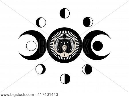 Wiccan Woman Icon, Triple Goddess Symbol Of Moon Phases. Triple Moon Religious Wicca Sign. Neopagani