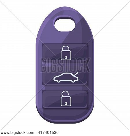 Alarm Smart Car Key Icon. Cartoon Of Alarm Smart Car Key Vector Icon For Web Design Isolated On Whit