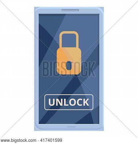 Phone Unlock Smart Car Key Icon. Cartoon Of Phone Unlock Smart Car Key Vector Icon For Web Design Is