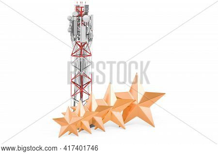 Rating Of Cell Tower Concept. Mobile Tower With Cellular Phone Antennas With Five Golden Stars, 3d R