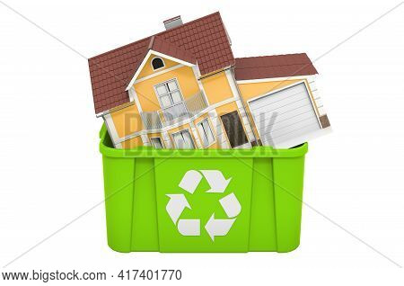 Recycling Trashcan With Home. 3d Rendering Isolated On White Background