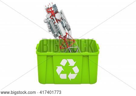 Recycling Trashcan With Mobile Tower With Cellular Phone Antennas. 3d Rendering Isolated On White Ba