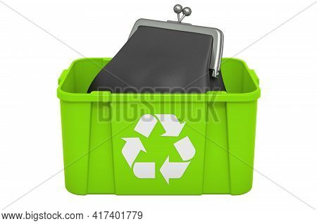 Recycling Trashcan With Purse. 3d Rendering Isolated On White Background