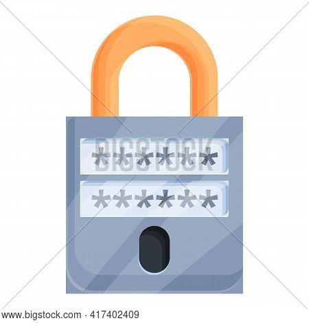 Online Password Protection Icon. Cartoon Of Online Password Protection Vector Icon For Web Design Is