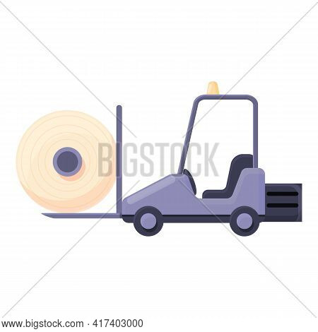Thread Production Forklift Icon. Cartoon Of Thread Production Forklift Vector Icon For Web Design Is