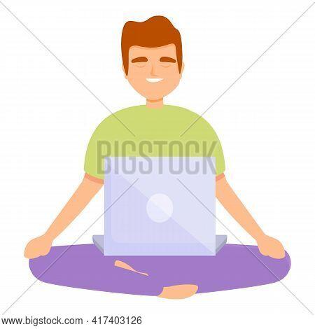 Freelancer Meditation Icon. Cartoon Of Freelancer Meditation Vector Icon For Web Design Isolated On
