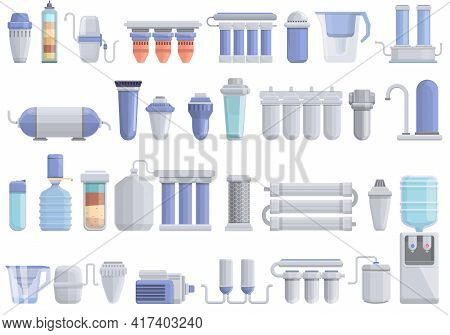 Equipment For Water Purification Icons Set. Cartoon Set Of Equipment For Water Purification Vector I