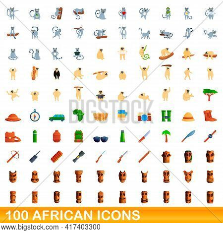 100 African Icons Set. Cartoon Illustration Of 100 African Icons Vector Set Isolated On White Backgr