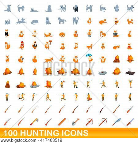 100 Hunting Icons Set. Cartoon Illustration Of 100 Hunting Icons Vector Set Isolated On White Backgr