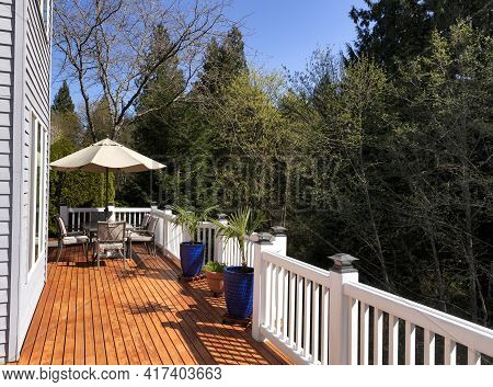 Home Outdoor Deck Freshly Painted During Lovely Spring Day