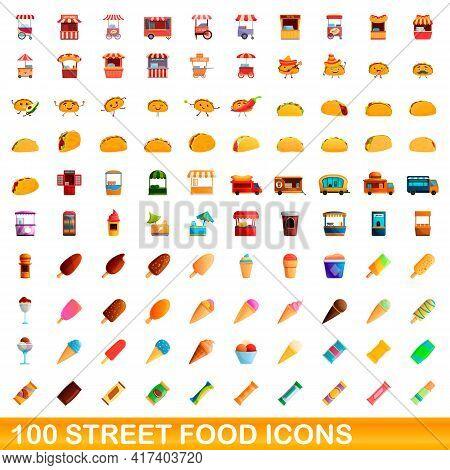 100 Street Food Icons Set. Cartoon Illustration Of 100 Street Food Icons Vector Set Isolated On Whit