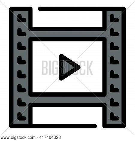 Play Video Clip Icon. Outline Play Video Clip Vector Icon For Web Design Isolated On White Backgroun