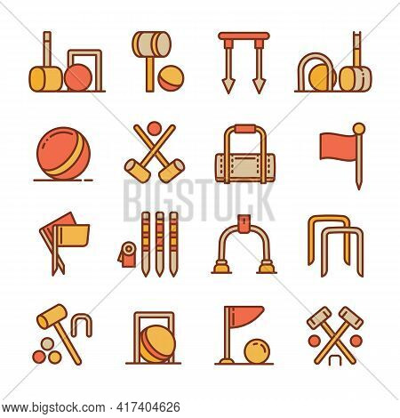 Croquet Icons Set. Outline Set Of Croquet Vector Icons For Web Design Isolated On White Background
