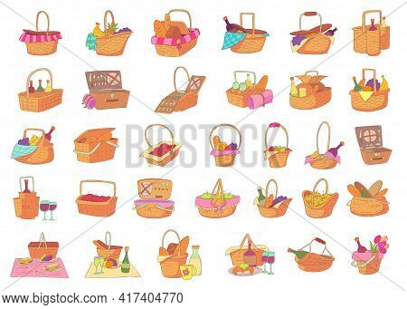 Picnic Basket Icons Set. Cartoon Set Of Picnic Basket Vector Icons For Web Design