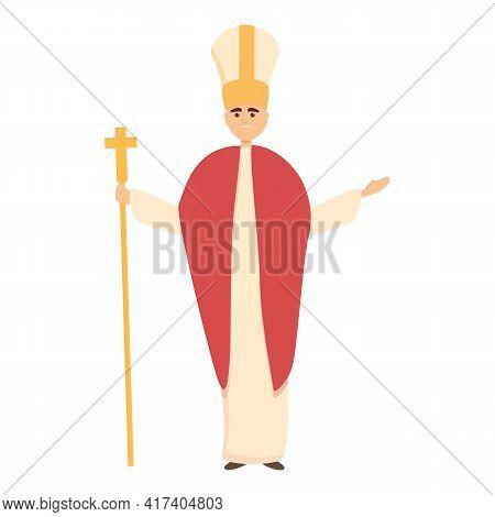Catholic Papa Icon. Cartoon Of Catholic Papa Vector Icon For Web Design Isolated On White Background