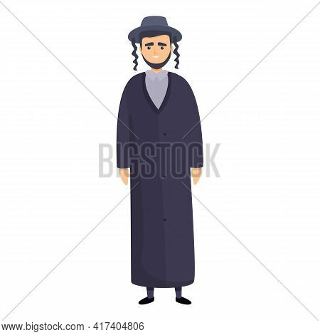 Jewish Young Priest Icon. Cartoon Of Jewish Young Priest Vector Icon For Web Design Isolated On Whit