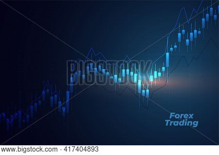 Forex Trading Background With Candle Stick Chart Design Vector Illustration