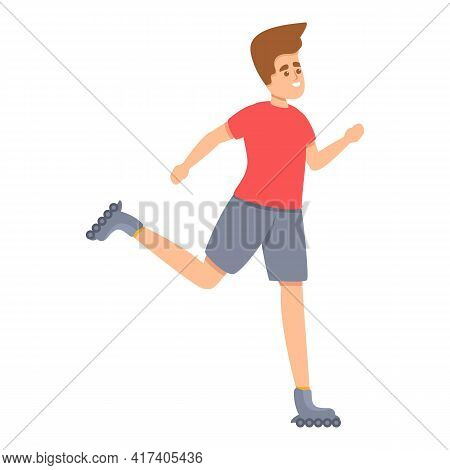 Sport Rollerblading Icon. Cartoon Of Sport Rollerblading Vector Icon For Web Design Isolated On Whit