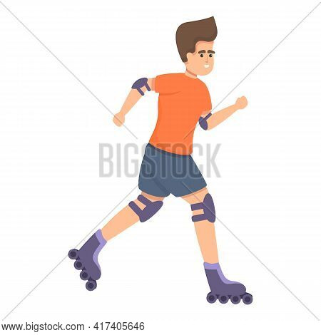 Athlete Rollerblading Icon. Cartoon Of Athlete Rollerblading Vector Icon For Web Design Isolated On