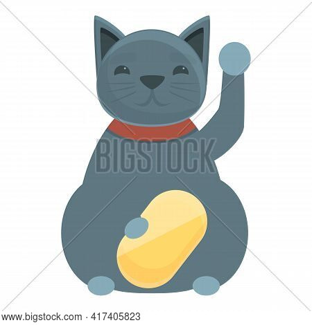 Gray Lucky Cat Icon. Cartoon Of Gray Lucky Cat Vector Icon For Web Design Isolated On White Backgrou