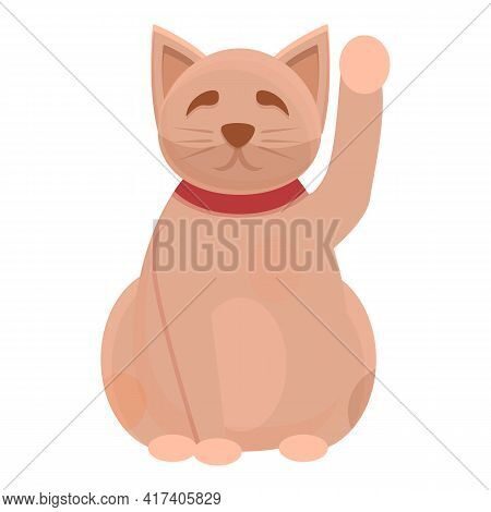 Good Lucky Cat Icon. Cartoon Of Good Lucky Cat Vector Icon For Web Design Isolated On White Backgrou