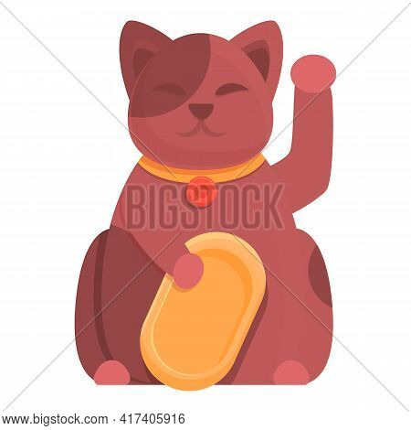 Hello Lucky Cat Icon. Cartoon Of Hello Lucky Cat Vector Icon For Web Design Isolated On White Backgr