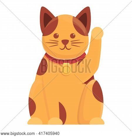Bell Lucky Cat Icon. Cartoon Of Bell Lucky Cat Vector Icon For Web Design Isolated On White Backgrou