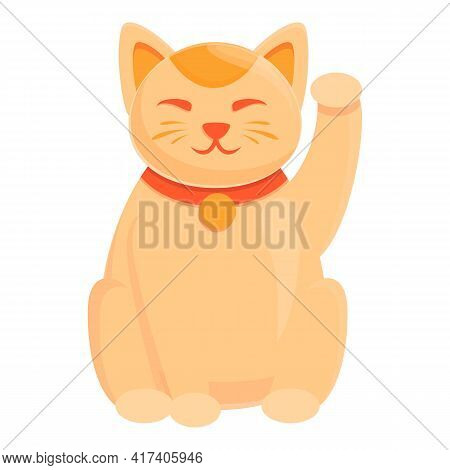 Charm Lucky Cat Icon. Cartoon Of Charm Lucky Cat Vector Icon For Web Design Isolated On White Backgr