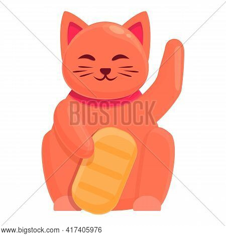 Red Lucky Cat Icon. Cartoon Of Red Lucky Cat Vector Icon For Web Design Isolated On White Background
