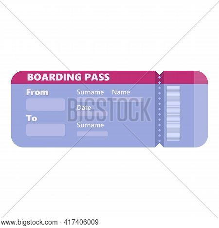 Airplane Boarding Pass Icon. Cartoon Of Airplane Boarding Pass Vector Icon For Web Design Isolated O